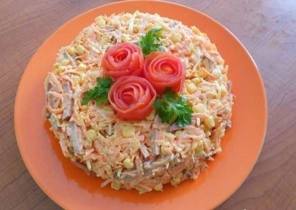 салаты рецепты простые с колбасой с фото